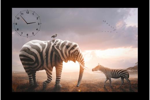 Картина-часы Слон и зебра